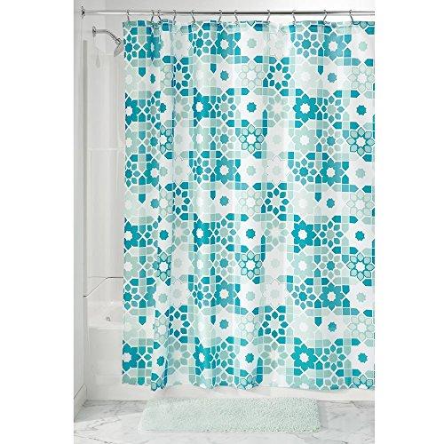 InterDesign Patchwork Floral Duschvorhang | 183,0 cm x 183,0 cm großer Vorhang für Badewanne und Dusche | Duschvorhang aus Stoff mit tollem Patchwork-Muster | Polyester grün/türkis (Patchwork-badewanne)