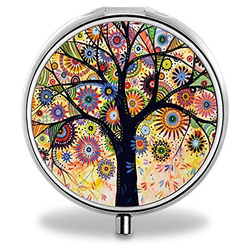 ONSPACE – Pillendose, tragbar, 3Fächer, runde Kammer, einzigartiges Design, aus Silbermetall als Taschen-/Geldbörsen-/Reise-Pillendose, kleine Vitamindose,  Tree of Life