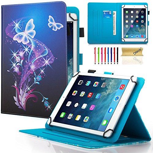 9.5-10.5 Zoll Universal iPad Case Schutzhülle, Dteck Schlankes Falten Mehrfachsansicht PU Leder Magnetschnalle Cover Case [Geldtasche / Kartenschlitzen] Stand Brieftasche Universal Hülle für Samsung Galaxy Tab 4 10.1/ Tab A 9.7/ Tab E 9.6/ Tab A 10.1/ Tab S 10.5, Nexus 9, iPad Pro 9.7, iPad 9.7 2017, iPad Air 2, Amazon Fire HD 10 2015 & 2017, Huawei MediaPad T3 10, Asus ZenPad 3S 10 Z500M 9.7 and All 9.5-10.5 inch Android Windows IOS Tablet PC, Lila Schmetterling (Samsung S, Tablet Tasche 10 5)