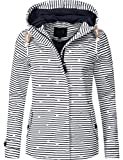 Peak Time Damen Übergangs-Jacke Outdoorjacke L60031 Navy/Weiß gestreift Gr. XL