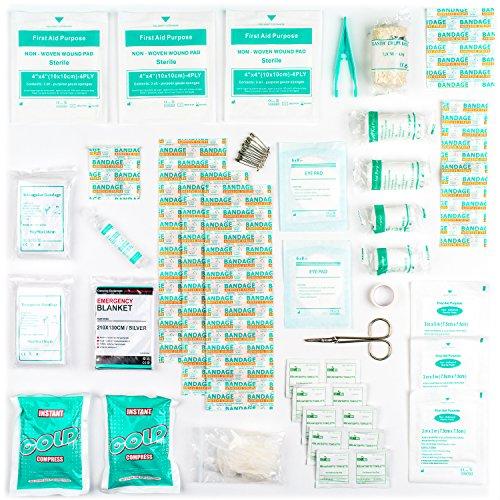 Botiquín de Primeros Auxilios de 90 artículos con Bolsas de Hielo  Solución para Ojos y Manta Isotérmica