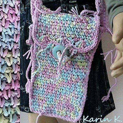 Häkel- Bag mit Innenfutter und Innentaschen / Beuteltasche / Beutel / Schultertasche / Umhängetasche in Pastellfarben aus Baumwolle, gehäkelt im Boho- Style, passt perfekt zu Jeans (Gehäkelte Beutel)