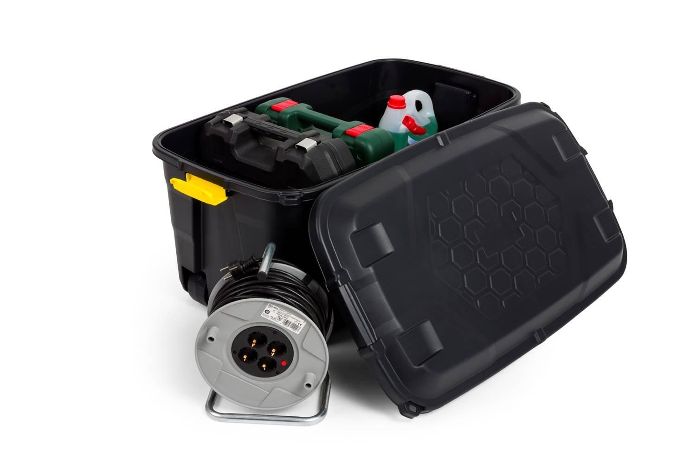 Kreher XXL Transportbox/Kissenbox mit 145 Liter Fassungsvermögen und vier Rollen! Abnehmbarer und abschließbarer Deckel, Nässe-geschützt und in robuster Ausführung! 93 x 53 x 46 cm!