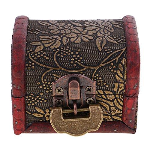 MagiDeal Rétro Boîte à Bijoux avec Cadenas à Clé en Bois pour Boucles d'oreilles Collier Broche Pince à Cheveux