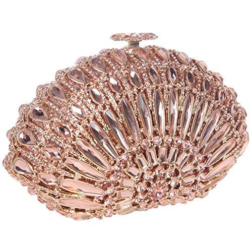 Bonjanvye Crystal Seashell Shaped Prom Clutch Purses Bling Clutch Evening Bag Rose Gold Rose gold