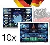10x Fußball WM Spielplan Planer Poster Plakat Spielplan 2018 Russland mit Vorder und Rückseite DINA3 - Alle Spiele - Alle Stadien - Fanartikel Deutschland für Fußball Fussball Weltmeisterschaft Russland 2018