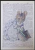 Figur Hunka Munka Maus Beatrix Potter Vintage Wörterbuch Seite Wand Kunstdruck Bild Peter Hase