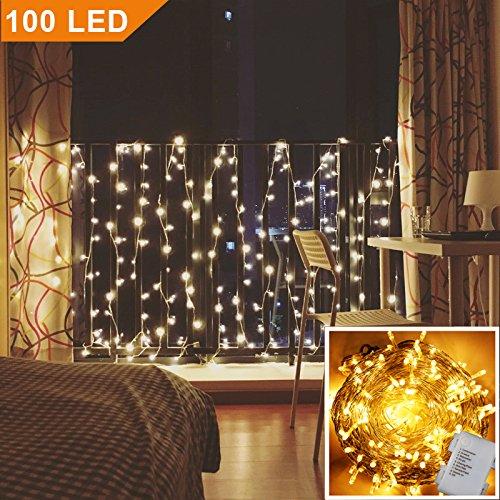 Uping - Cadena de luces de batería impermeables, con 100luces LED con forma de cordón de 11m, 8modos de iluminación, blanco cálido