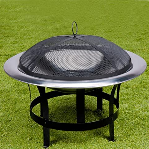 Stainless Steel Fire Pit Bowl Fire Basket BBQ Garden Grill Brazier Heating Wood Charcoal + Lid +