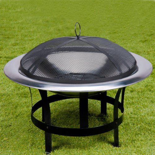 Stainless Steel Fire Pit Bowl Fire Basket BBQ Garden Grill Brazier Heating Wood Charcoal + Lid + Hook