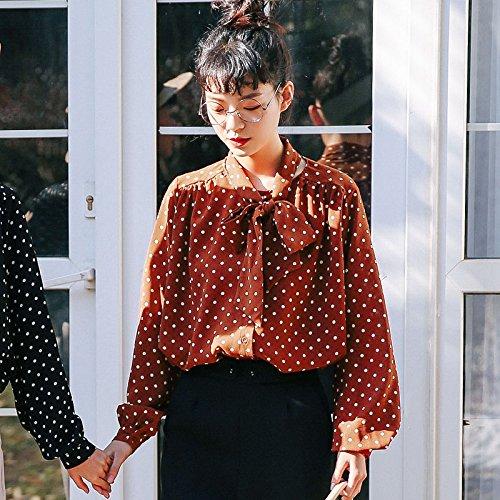 XXIN Studentinnen/Shirt/Lose Bow Tie/Schnee Gewebte Hemden/Code/Brauner Zucker