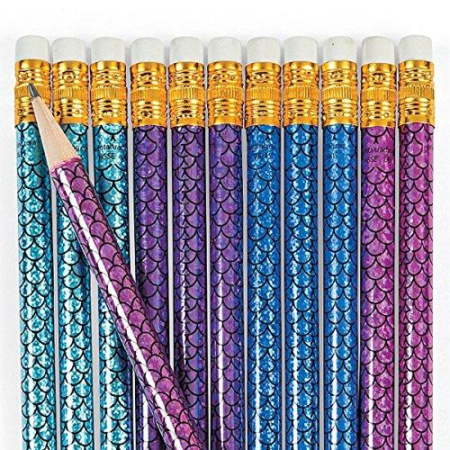 Preisvergleich Produktbild 12x Meerjungfrauen Bleistifte Fisch Flosse Glitzer Glitter Mitgebsel Geburtstag Meerjungfrau Kindergeburtstag Radiergummi