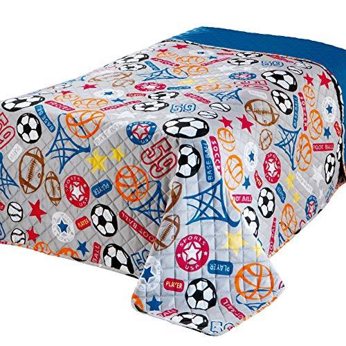 Delindo lifestyle® copriletto singolo sport, per cameretta bambini ragazzo, blu trapuntato, 170x210 cm