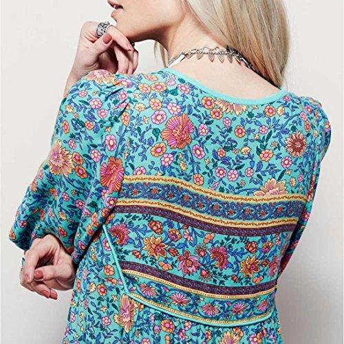 Ularmo® Femmes Imprimé floral Manche longue Robe Boho Dames Soir Fête Longue Maxi Robe (M, Bleu) Bleu