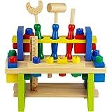 Nuheby Werkzeug Werkbank Kinder Werkzeugkasten Holz Multifunktionale Rollenspiel Spielwerkbank Pädagogisches Spielzeug…
