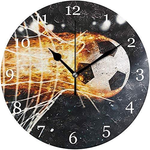ALLdelete# Wall Clock Sport Fußball Feuerball Tornetz Wanduhr Stille Nicht Ticken Runde Uhr Acryl Kunst Malerei Home Office Schule Dekor