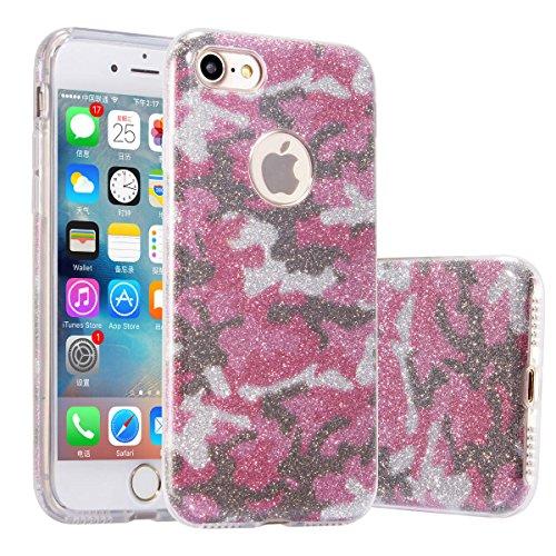 FINOO | Iphone 7 Rundum 3 in 1 Glitzer Bling Bling Handy-Hülle | Silikon Schutz-hülle + Glitzer + PP Hülle | Weicher TPU Bumper Case Cover | Camouflage Rosa Rosa Camouflage-lkw-zubehör