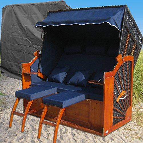 XINRO® Ostsee Strandkorb XXXL blau - schwarz gestreift günstig kaufen # inkl. Schutzhülle # 160cm breit # 2 Bezüge (Grundbezug + abnehm- und waschbarer Wechselbezug)
