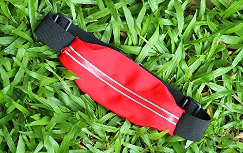 inShang Marsupio Sportivo Running belt/Sport Waist packs/Cintura da Corsa/Marsupio Con Cintura Riflettente/Running Sportivo Uomo Donna Impermeabile Regolabile per iPhone SE iPhone 6 / 6S iPhone 5 4 3  red