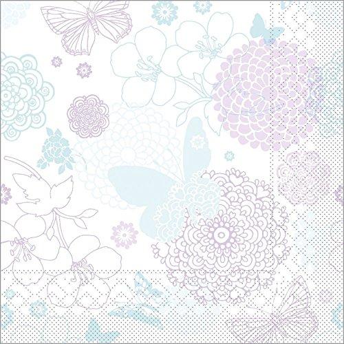 Sovie HORECA Serviette Luisa / Tissue-Servietten 33x33 cm / saugstarke und hochwertige Einweg-Servietten / ideal für Hochzeit & Feiern im Frühling & Sommer / 100 Stück / Mint-Lila (Servietten Blume 3-lagige)