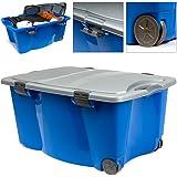 Boîte de rangement sur roulettes en plastique bleu/gris avec couvercle 170 Litres 2 poignées 4 fermoirs Rangement maison