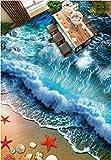 Poowef 3D Wallpaper die selbstklebenden 3D-Strand Beach Surf Wellen auf das Schlafzimmer Flur Bad Fliesenboden Poster wasserdicht Verschleiß