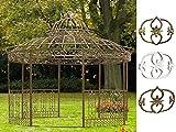 CLP XXL Luxus Pavillon Romantik aus pulverbeschichtetem Eisen l Ø 5 m, Höhe 4,45 m l Runder Pavillion mit Stilvollen Verzierungen l Garten Rankpavillon mit Seitenteilen Antik Braun
