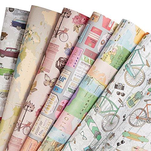 RUSPEPA Fogli di carta da regalo - Carta da regalo stile vintage marrone chiaro per mestiere, presente, fiore - 6 Folded fogli - 50 CM X70 CM