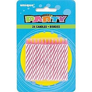 Unique Party- Paquete de 24 velas de cumpleaños, Color rosa (1905PC)