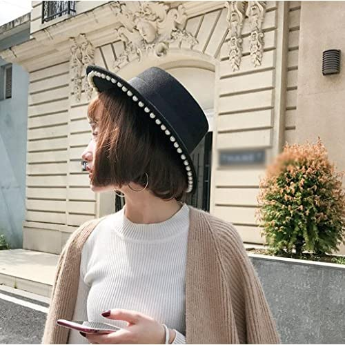 919c37a7701 Longless Autumn and winter hat big eaves flat top jazz hat retro  temperament wild small hat