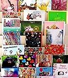 Gruß- und Geburtstagskarten, hochwertig,  allgemeine Designs für verschiedene Anlässe, 50 Stück