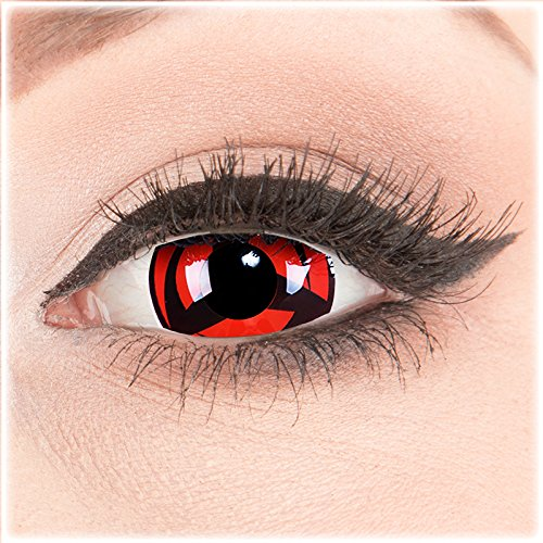 Farbige Mini Sclera Halloween Kontaktlinsen 'Kakashi' - 17mm MeralenS Horror Lenses inkl. Behälter - 1Paar (2 ()
