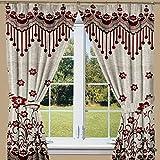 Threadmix Red Polyester Window Curtain (...
