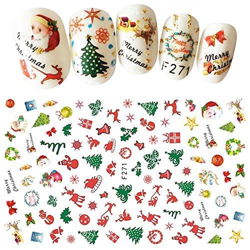 SUxian Nagel-Aufkleber-3D Weihnachtsmann-Nagel-Aufkleber-Blumen-Nagel-Kunst-Dekorationen Weihnachtsdekoration 3 PC-Gelegentliche Farbe