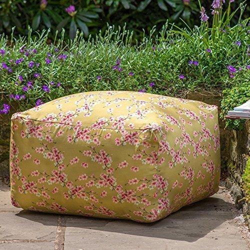 "Designer Wasserdicht Garten Outdoor rectangluar Pouf-Senf Cherry Blossom, Gnitzen Bank Garten Kollektion ""- Entworfen, bedruckt & Handarbeit in der UK"