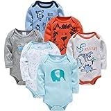 Bébé Body Lot de 6 Garcon Barboteuses Pyjamas Coton Combinaisons Costume Manche Longue Onesies Vetement Cadeau 6-9 mois