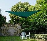 Cool Area toldo vela de sombra 3.6x3.6x3.6m protección UV, HDPE triangular para jardín, Verde