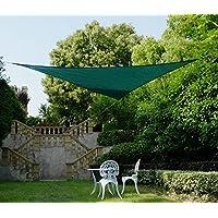 Cool Area toldo vela de sombra 3x3x3m protección UV, HDPE triangular para jardín, Verde