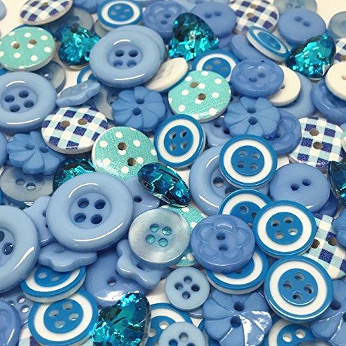 roseys-craft-shopr-150-x-mix-wooden-acrylic-resin-blue-buttons-collection-cardmaking-embellishments-