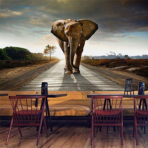(Tapete südostasiatisches Großes Wandbild-Indischer Elefant-Thailändisches Art-Thema-Western-Restaurant-Hintergrund-Wand-Papier Nahtloses Wasserdichtes Wallcovering)