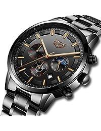 LIGE Relojes Hombre Impermeable Deporte Cuarzo Analógico Reloj Hombre Moda Casual Cronógrafo Negro Acero Inoxidable Reloj