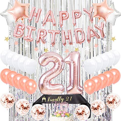 tag Partydekorationen Rotgold - Endlich 21 Schärpe Silber Vorhang Hintergrund Glitter Cake Topper Nummer 21 Folienballons ()