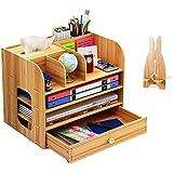 Organiseur de bureau en bois avec porte-stylos, tiroirs de rangement pour bureau, pour maison et école, 32,5 x 26,5 x 22,5 cm