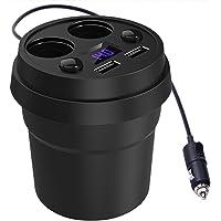 TASLAR Dual USB Socket Cigarette Lighter Adapter, Car Charger, Cup Holder Dash cam Compatible with Apple Android/Mobile Phones, (Black)