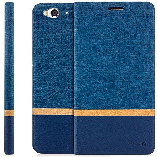 zanasta Tasche kompatibel mit ZTE Blade S6 Hülle Flip Case Schutzhülle Handytasche mit Kartenfach Blau