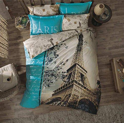 5Stück Paris Eiffelturm Motto Bettwäsche Leinen Full Queen Gr. Tröster Set (Tröster Eiffelturm)