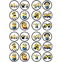 Minions Movie Edible PREMIUM THICKNESS SWEETENED VANILLA,Wafer Rice Paper Cupcake Toppers/Decorations