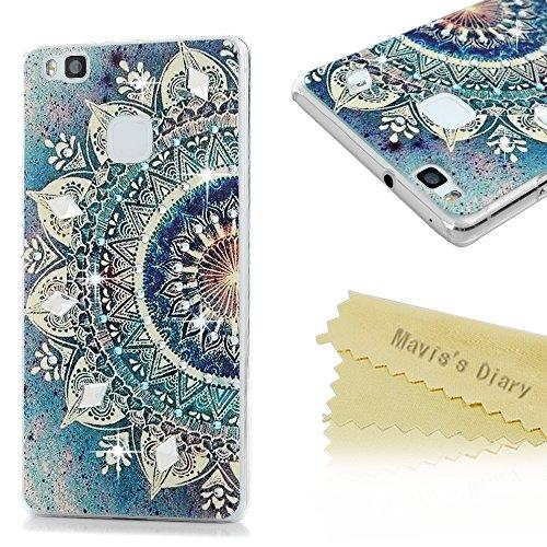 Mavis's Diary Case für Huawei P9 Lite Tasche PC Hardcase Plastik Glanz Glitzer-Strass Case Schutzhülle Drucken Blumen mit Bling Strasstein Handmade Durchsichtig Bumper Handycover Handyhülle