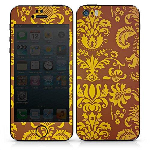 Apple iPhone 5s Case Skin Sticker aus Vinyl-Folie Aufkleber Ornamente Muster Braun Gelb DesignSkins® glänzend
