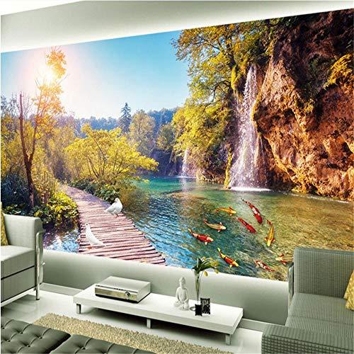 Sucsaistat Tapete Wandbild 3D Wandbild Wandaufkleber Hd 3D Outdoor Schönheit Retro Woodbridge Bodenfliesen 3D Malerei, 400 * 280Cm
